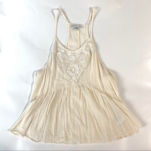 AEO Cream Flowy Tank Top with White Lace